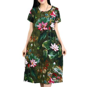Plus size 2017 new women spring summer dress cotton linen vintage pint floral long sleeve midi casual dress plus size Vestidos