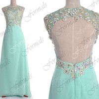 Mint Prom Dresses, Lace Prom Gown, Straps Lace/ Crystal Long Chiffon Mint Prom Dresses with Open Back, Evening Gown, Mint Formal Dresses