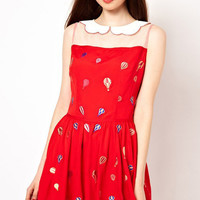 Red Printed Mesh Panel Chiffon Dress