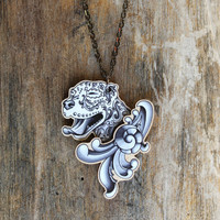 Ornamental Pitbull in Black and Grey Filigree Necklace