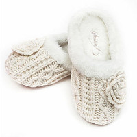 winter bloom chunky knit mule slippers by stasia   notonthehighstreet.com