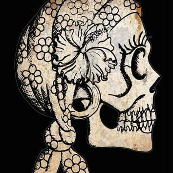 Gypsy Skull Drawing 4x6 Photo Print many sizes by ShayneoftheDead