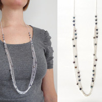 Long chain necklace layered grey pearls elegant minimalist ooak