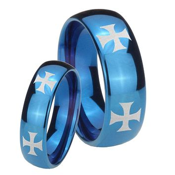 Bride and Groom 4 Maltese Cross Dome Blue Tungsten Personalized Ring Set