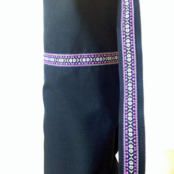 BLACK YOGA / PILATES mat bag with pink / purple woven aztec stripe & aztec strap 100% strong cotton drill. Re-enforced stitching