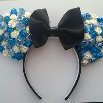 White, Blue, Turquoise Floral Rose Minnie Mouse Ears Headband with Black Bow