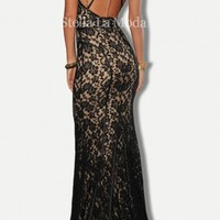 Black Lace Nude Illusion Open Back Evening Gown