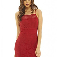 Red Sexy Strap Hollow Out Lace Design Mini Dress