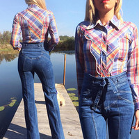 Vintage 1960's Rare RAINBOW H Bar C California Ranchwear Slim Fitting Western Shirt || Ladies XS to S