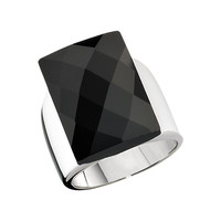 Ring from the COCKTAIL Collection, Designer Sterling Silver and Black Agate