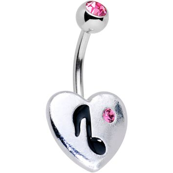 Pink Gem I Heart Music Belly Ring