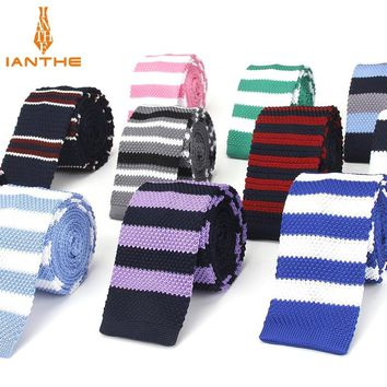 Fashion Mens Knit Ties Colorful New 6cm Slim Knitted Skinny Neckties For Men Party Wedding Male Neckwear Tie Cravat Corbatas