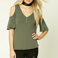 V-Neck Open-Shoulder Top