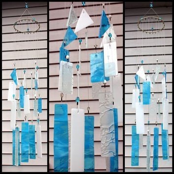 Sky Blue Stained Glass Wind Chimes Indoor Outdoor Garden Decor Glass Windchime