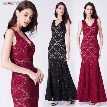 Full Lace Evening Dresses Long Ever Pretty Elegant Deep V Neck Floor Length Special Party Gowns Illusion Mermaid robe de soiree