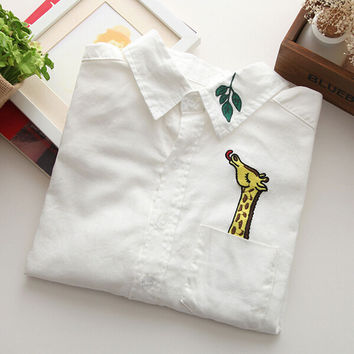 Japanese Cotton Giraffe Leaves Shirt