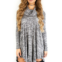 CYBER DEAL Uptown Girl Charcoal Cowl Neck Sweater Dress