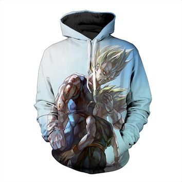 Vegeta Super Saiyan With Trunks 3D Men Skateboarding Hoodies Sports Pullovers Dragon Ball Z Sweatshirts Hooded Hoody Streetwear