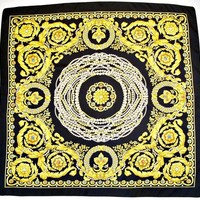 "Venbe - Market Place - JEWELS PEARLS ORNAMENTS NECKLACE BLACK & GOLD 33""SQUARE SCARF"