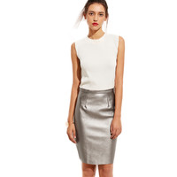 Iris Metallic Bodycon Midi Skirt