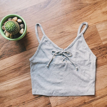 Grey Lace Up Ribbed Crop Top