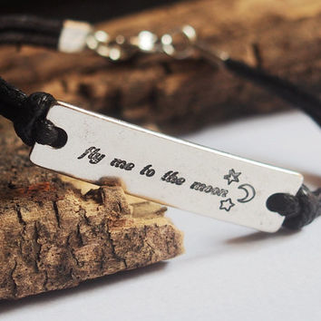 Fly me to the moon bracelet, moon star bracelet, Custom engraved bracelet, custom bracelet, Engraved bracelet, personalized bracelet, moon