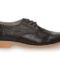 Black Crackled Leather Women's Brogues