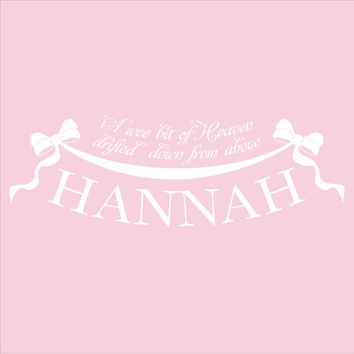 Girls Name Wall Decal - A Wee Bit of Heaven Quote With Bows And Ribbon For Girl Baby Nursery Or Bedroom Vinyl Wall Art 12H x 36W GN057