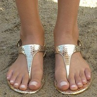 Gold metallic sandal from Chockers Shoes