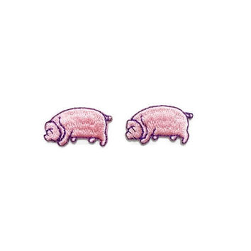 Set 2 pcs. Mini Pink Pig Cute Animal New Sew on / Iron on Patch Embroidered Applique Size 3cm.x1.7cm.