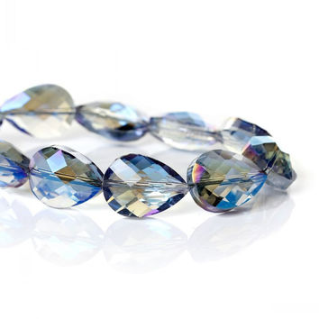 "DoreenBeads Crystal Glass Loose Beads Teardrop Blue AB Color Faceted About 18mm x 13mm(6 8"" x 4 8"") 53cm 1 Strand(approx 30PCs)"