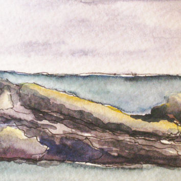 """Maine Painting. Seascape, Watercolor, Pen and Ink Drawing. Original Art ACEO. """"Pemaquid 7"""" by Kathleen Daughan."""