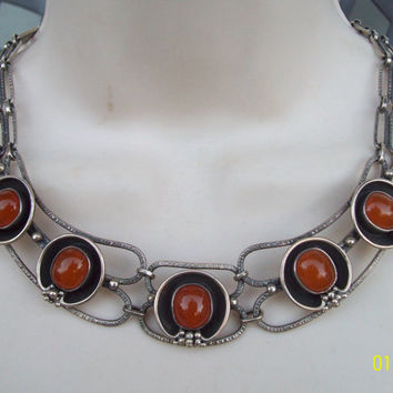 Vintage Modernist French Sterling Butterscotch Amber Necklace, Atomic Space Age, Chunky Mid Century