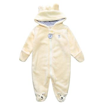 Baby's Yellow Bear Onesuit w/Hood