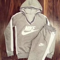 NIKE Fashion Women Casual Print V-Neck Sweater Pants Sweatpants Set Two-Piece Sportswear Hoodie Grey I