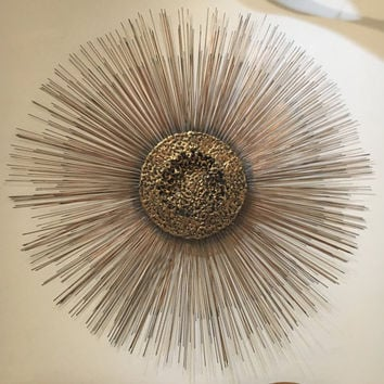 "Brass Brutalist Sunburst Metal Wall Sculpture William Bruce Freidle 40"" 3 Tier Sun"