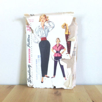 Simplicity 4464 Junior Misses' Blouse, Overblouse and Tapered Slacks {1950s} Vintage Sewing Pattern