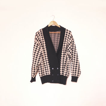 80's Vintage Sweater, Black White Cardigan, Wide Cardigan In Monochrome Pattern, Oversize, Slouchy Style Sweater