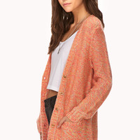 FOREVER 21 Sugartooth Oversized Cardigan Pink/Yellow