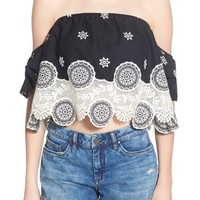 4SI3NNA Lace Off the Shoulder Crop Top | Nordstrom