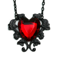 Steam Punk Necklace  Gothic Red Heart by robinhoodcouture on Etsy