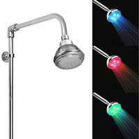 7-Color-Changing LED Shower Head with Pressure Sensor in Silver