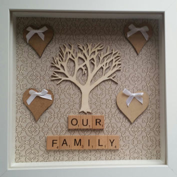 Family wooden tree frame Home decor photo frame personalised scrabble family White box frame keepsake frame wedding gift