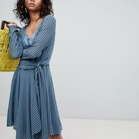 Ghost long sleeve striped wrap dress at asos.com