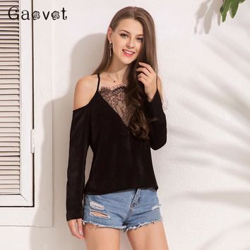 Gaovot Basic Women Tops Series Spring New Fashion Satin Lace Patchwork Sexy T Shirts Strap Off The Shoulder T-Shirt KW172066