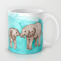 Baby Elephant Love - sepia on watercolor teal Mug by Perrin Le Feuvre