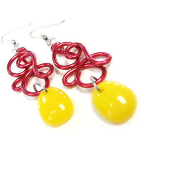 Bright Red Yellow Earrings Summer Fun Wire Art Fruit Punch Glass Beads Jewelry
