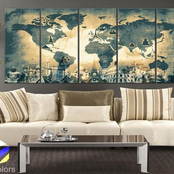 "XLARGE 30""x 70"" 5 Panels 30""x14"" Ea Art Canvas Print Original Wonders of the world Old Map Light yellow Wall decor Home interior (framed 1.5"" depth)"