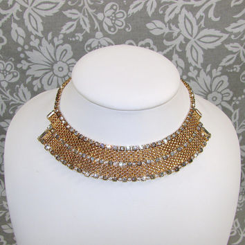 Vintage 1950s DUANE Rhinestone Choker Bib Necklace Mesh Chain Cleopatra Egyptian Pharoah Collar Gold Halloween Accessory Costume Jewelry