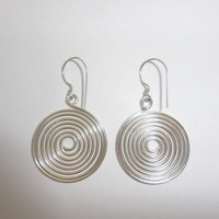 Sterling Silver Circle Wire Wrapped Dangle Earrings